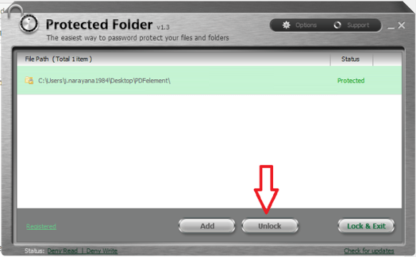 unlock file with protected folder