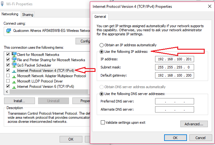change the computer ip