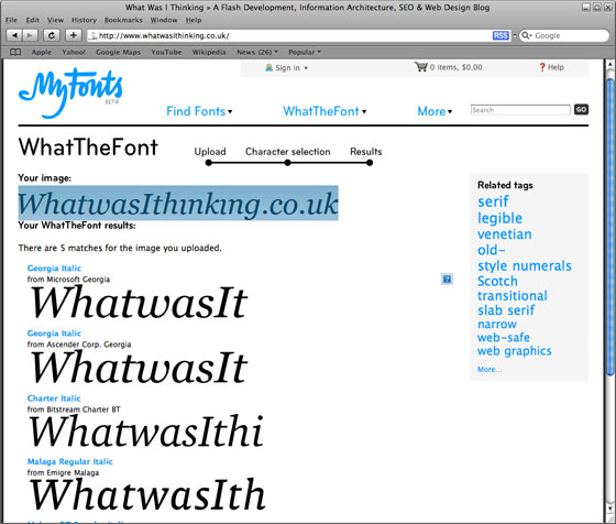 WhatTheFont! - Whatwasithinking.co.uk