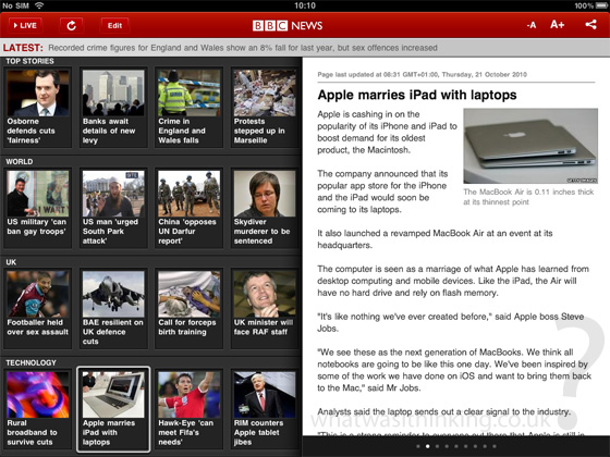 BBC news for the iPad screenshot