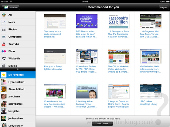 Stumbleupon for the iPad screenshot