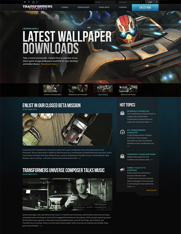 Transformers Universe website screenshot