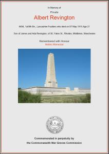 CWGC Certificate for Albert Revington, 1894-1915