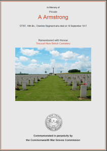 CWGC Certificate for Arthur Armstrong