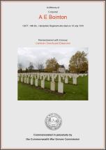 CWGC Certificate for Arthur Edward Bointon