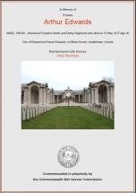 CWGC Certificate for Arthur Edwards