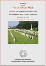 CWGC Certificate for Arthur William Flack