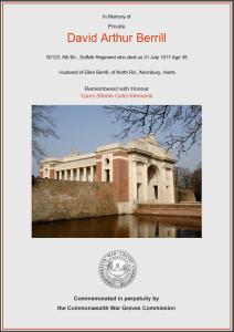 CWGC Certificate for David Arthur Berrill