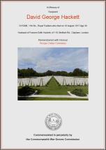 CWGC Certificate for David George Hackett