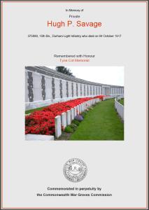 CWGC Certificate for Hugh Pattison Savage