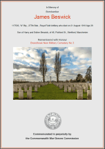 CWGC Certificate for James Beswick