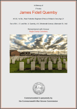 CWGC Certificate for James Fidell Quemby