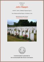 CWGC Certificate for John Raspin