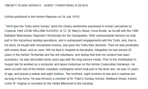 Newspaper Article on death of John William Hughes