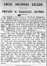 Article on death of Wilfred Baggaley