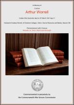 CWGC Certificate for Arthur Worrell