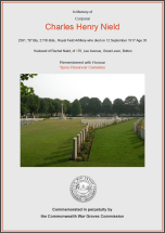CWGC Certificate for Charles Henry Nield