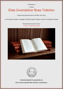 CWGC Certificate for Elsie Gwendoline Rose Tollerton