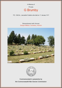 CWGC Certificate for George Housley Brumby