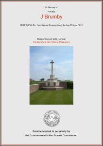 CWGC Certificate for John Brumby