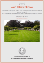 CWGC Certificate for John William Gleeson
