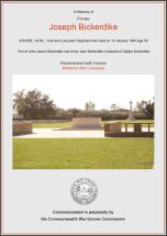 CWGC Certificate for Joseph Bickerdike