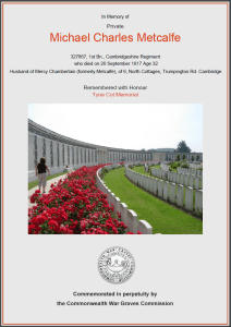 CWGC Certificate for Michael Charles Metcalfe