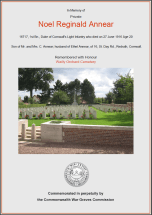 CWGC Certificate for Noel Reginald Annear