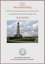 CWGC Certificate for Paul Harold Elling