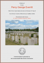 CWGC Certificate for Percy George Everritt