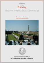 CWGC Certificate for Percy Matley