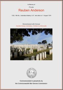 CWGC Certificate for Reuben Anderson