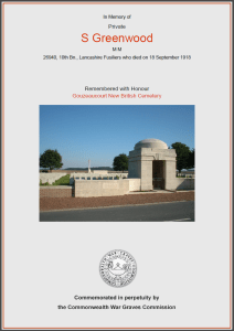 CWGC Certificate for Sidney Greenwood