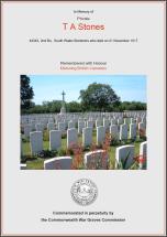 CWGC Certificate for Thomas Arthur Stones
