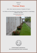 CWGC Certificate for Thomas Sharp