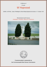 CWGC Certificate for Walter Hopwood