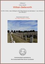 CWGC Certificate for William Bettsworth