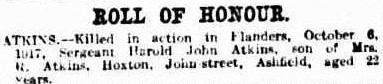 Death Notice for Harold John Atkins