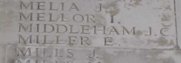 John Charles Middleham on Thiepval Memorial