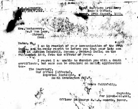 Letter informing of death of Jack Hamilton Montgomery