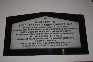 Memorial in St Alfege's Church for Robert Harry Groves