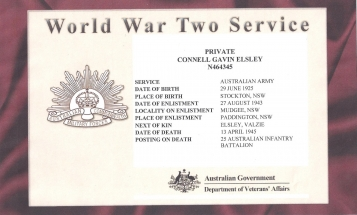 Service Record of Connell Gavin Elsley