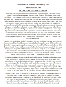 Transcript of a Newspaper Article reporting on death of Joseph Edward Appleby