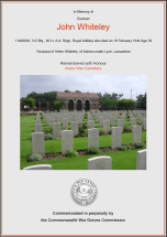 CWGC Certificate for John Whiteley
