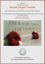 CWGC Certificate for Michael Edward Thwaites