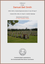 CWGC Certificate for Samuel Bell Smith
