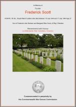 CWGC Certificate for Frederick Scott