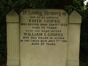 Headstone for William and Edith Cooper