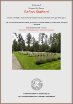 CWGC Certificate for Sefton Stafford