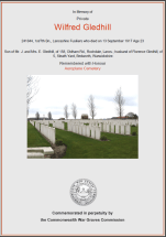 CWGC Certificate for Wilfred Gledhill